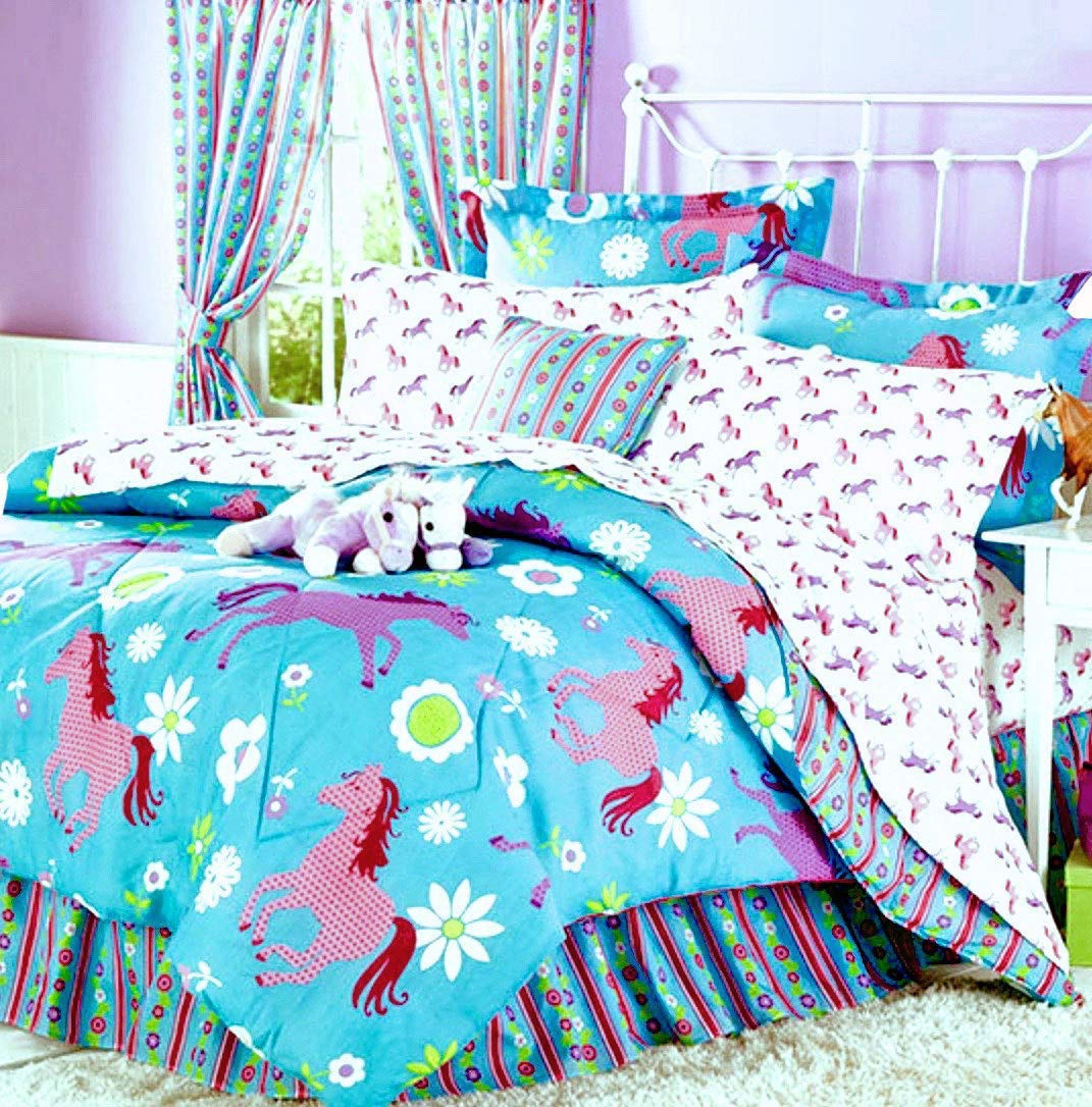 girls bedding Amazon.com: Girls Turquoise Blue u0026 Pink Pony Horse Comforter Set W-Sheets  (Bed in a Bag) (Twin Size): Home u0026 Kitchen