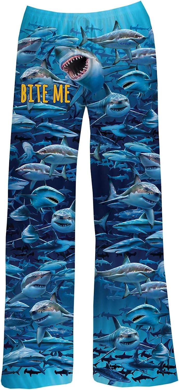 American Mills Men's Shark Lounge Pants - Blue Fish Print Adult Pajama Bottoms