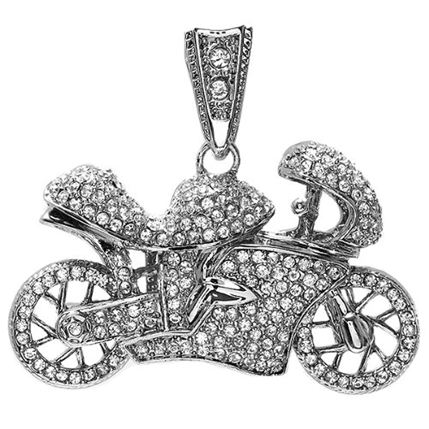 Crystal Hip Hip Micro Pave Mens Motor Cycle Pendant (2.50 inch x 2.00 inch)