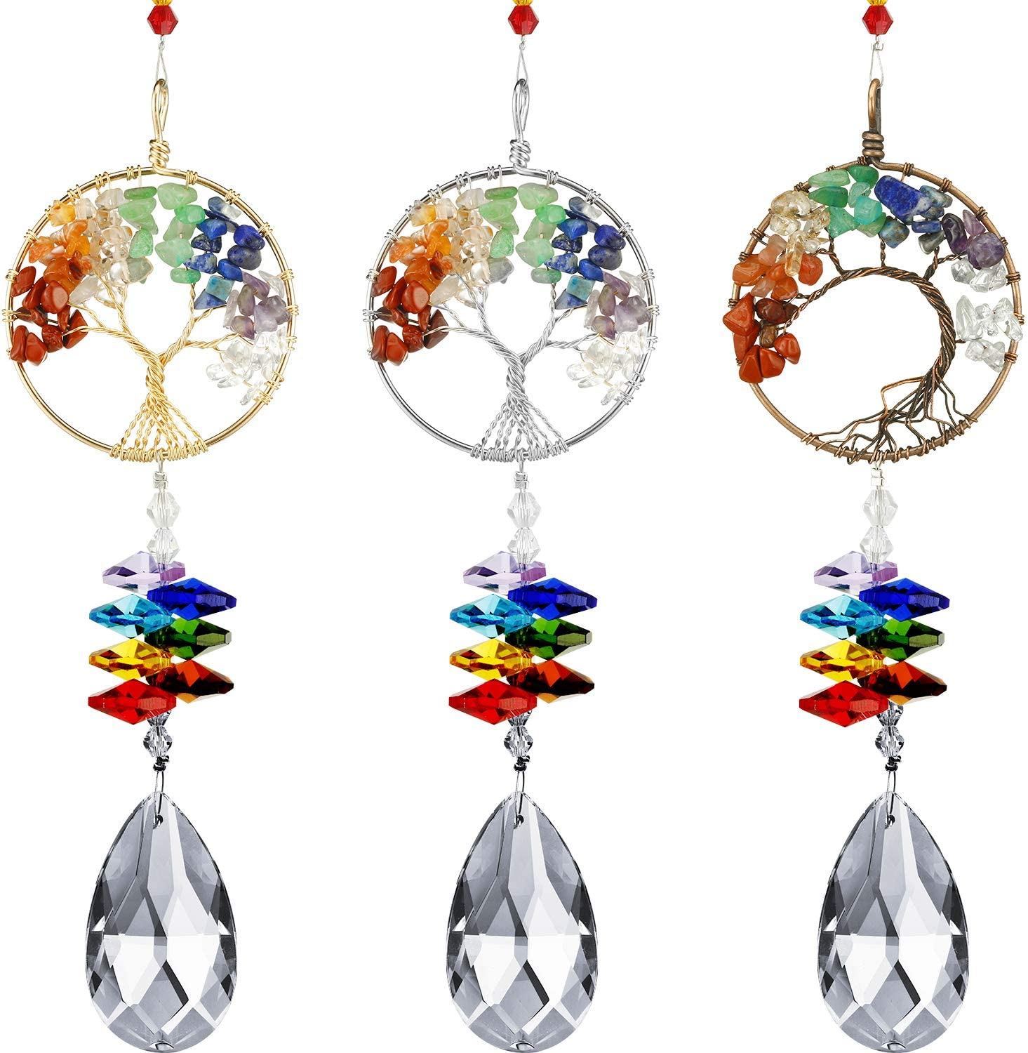Blulu 3 Pieces Colorful Life Tree Pendant Crystal Suncatcher Wall Hanging Tree Window Prism Ornament for Room Home Office Garden Decor (Silver, Gold, Rose Gold)