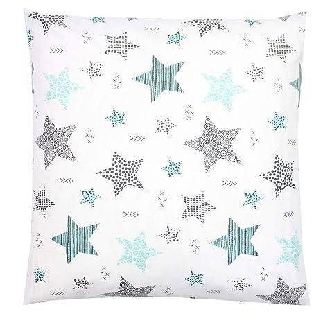 TupTam Funda para Cojin con Diseño Decorativo para Niños, Estrellas Menta Verde/Negro, 40 x 40 cm