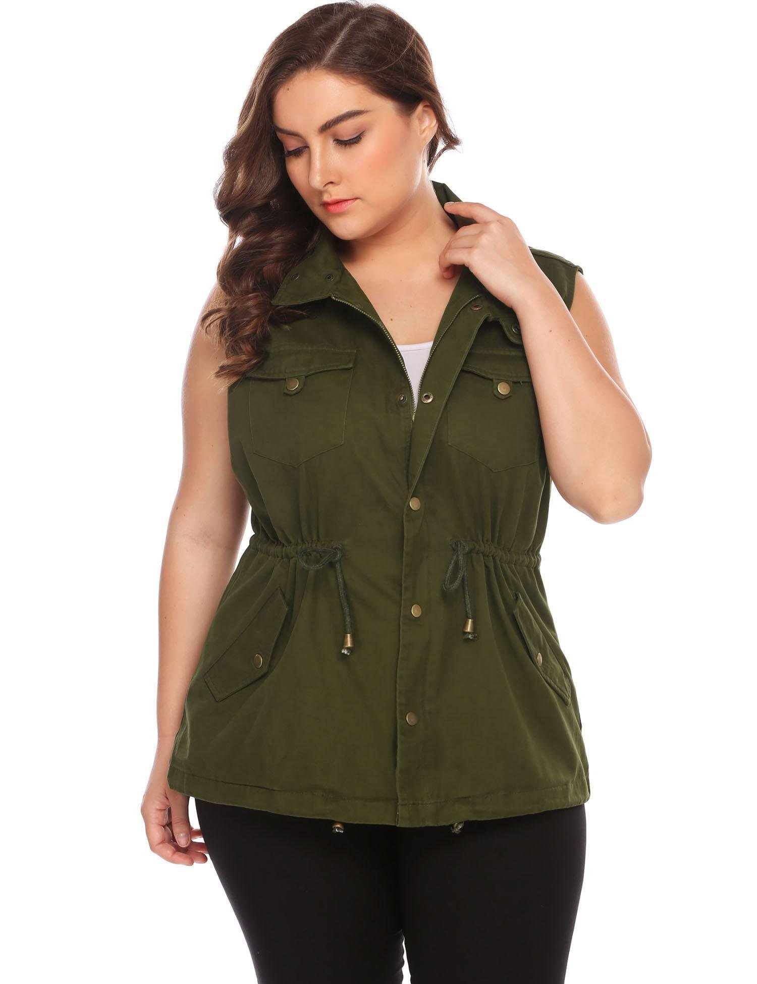 Involand Womens Lightweight Sleeveless Military Anorak Vest,Olive,22 Plus