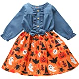 Toddler Kids Baby Girls Halloween Denim Dress Pumpkin Print Long Sleeve Bowknot Princess Party Dress Fall Winter Clothes