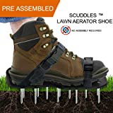 Lawn Aerator Shoes, Heavy Duty Spike Aerating Sandals For Soil With Adjustable straps - Sturdy Universal Size, Men Women NO ASSEMBLY NEEDED Use Straight Out Of Box (01)