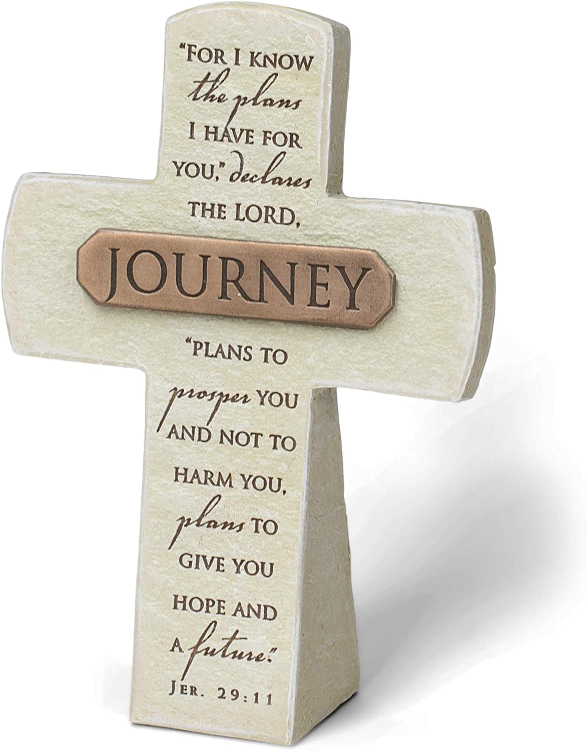 Lighthouse Christian Products Journey Plans for You Sandstone 5.5 Inch Cast Stone Bronze Title Bar Cross Figurine