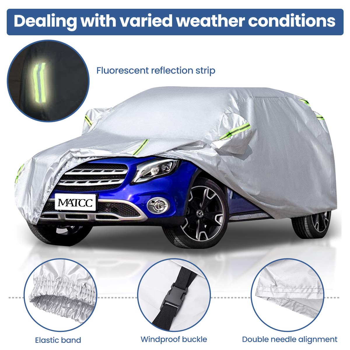 MATCC Car Cover SUV Upgraded Waterproof SUV Car Cover Anti Dust All UV Protection Universal Fit Full Car Cover Up to 190