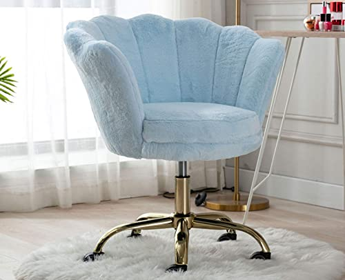Guyou Faux Fur Home Office Desk Chair Stool Comfy