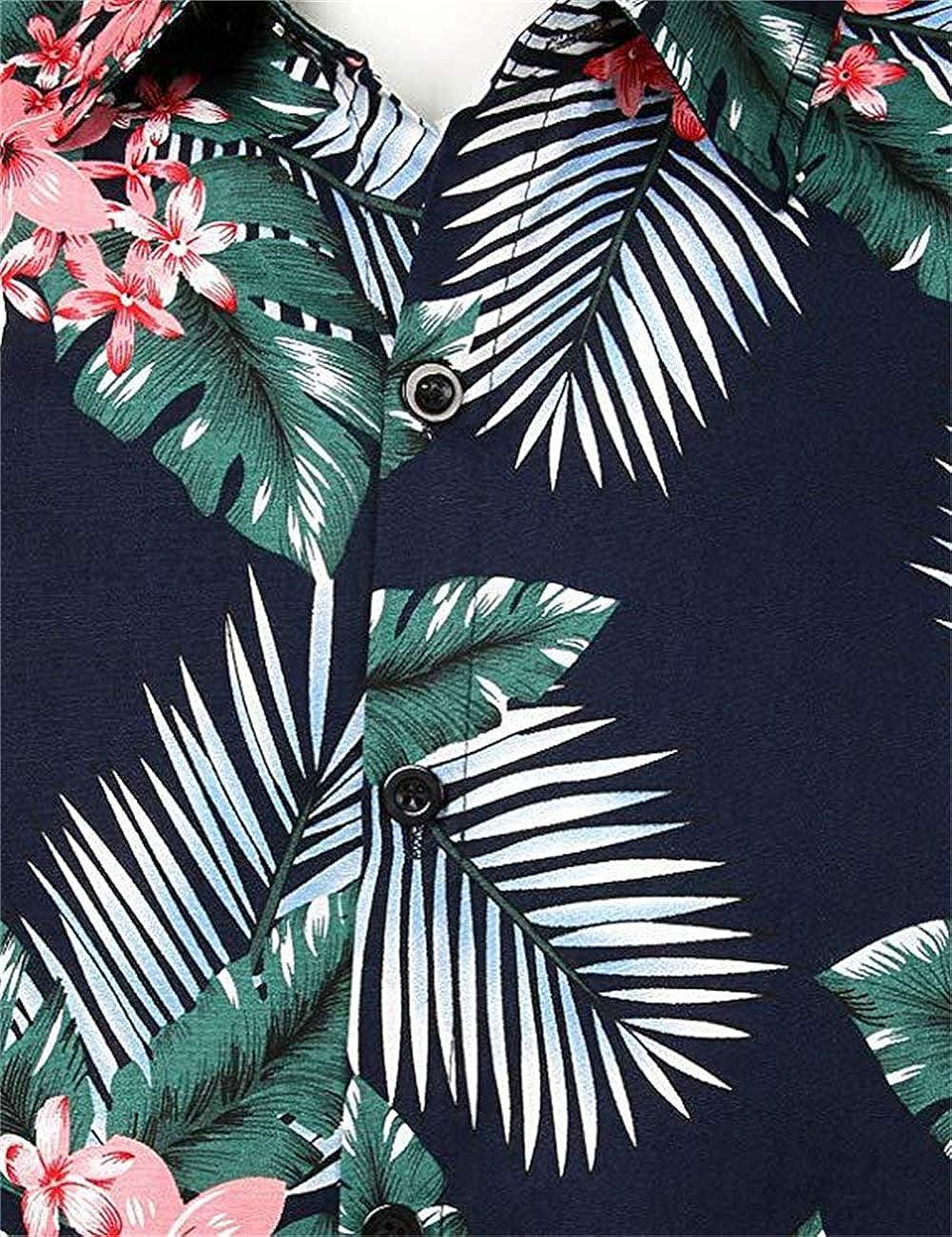 ZXLLZ Hawaiian Shirt Short Sleeve Front Pocket Hawaiian Print Bike Party Flower Beach Men Multicolored-2,Small