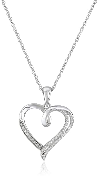 f941b3301d914 Amazon.com  Sterling Silver Diamond Heart Pendant Necklace (1 10 ...