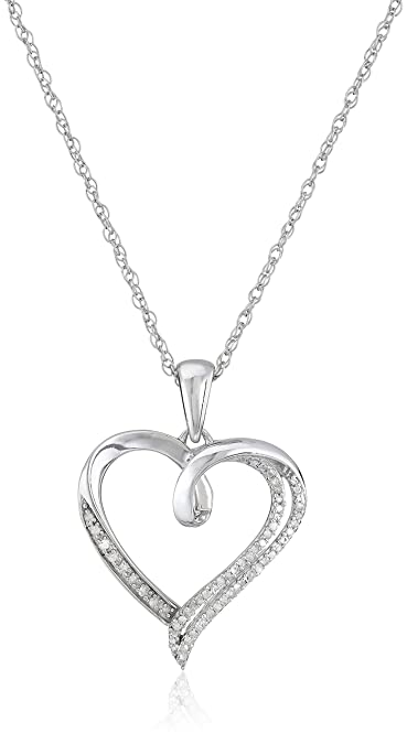 Amazon sterling silver diamond heart pendant necklace 110 amazon sterling silver diamond heart pendant necklace 110 cttw 18 jewelry aloadofball Images