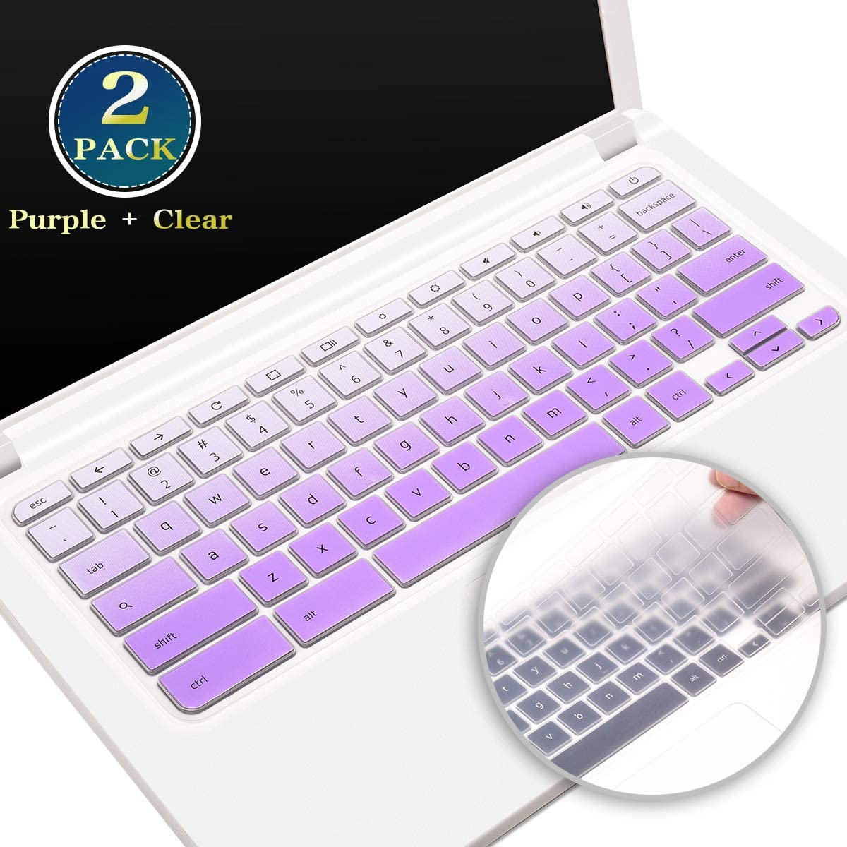 "for Lenovo Chromebook 11.6 Inch Keyboard Cover C330, Silicone Keyboard Skin for Lenovo Flex 11 Chromebook/Chromebook N20 N21 N22 N23 100e 300e 500e 11.6"", 14"" Chromebook N42 N42-20(Purple+Clear)"