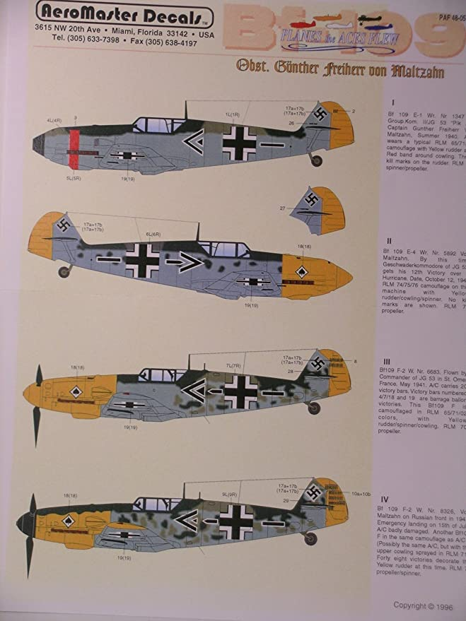 9dc3f024f3ea Amazon.com  AeroMaster Decals 1 48 Scale German WW II Planes the Aces Flew   Everything Else