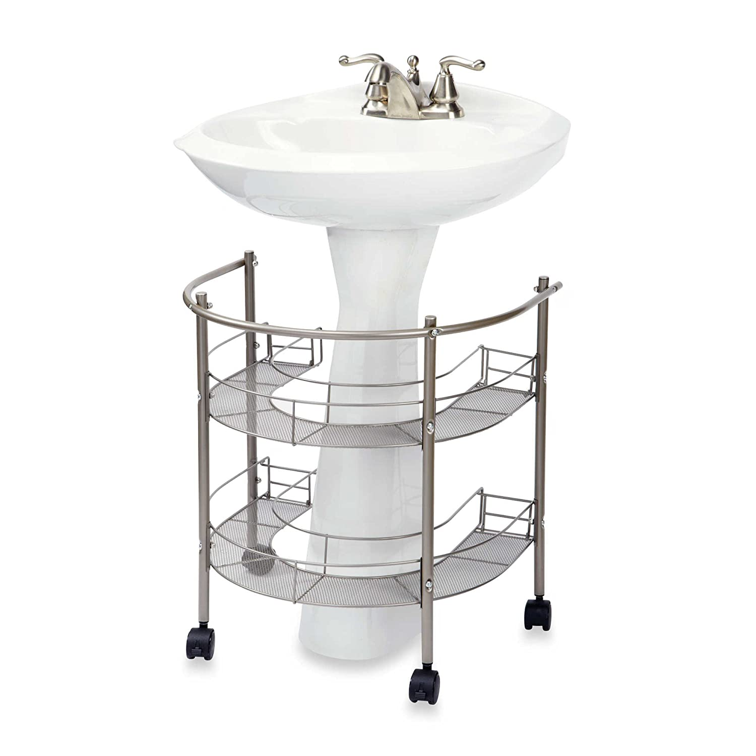 Amazon.com - Rolling Organizer For Pedestal Sink - Two Tiers Wrap-Around  Storage w/ Smooth Glide Casters, Easy to Assemble, Guaranteed High Quality -