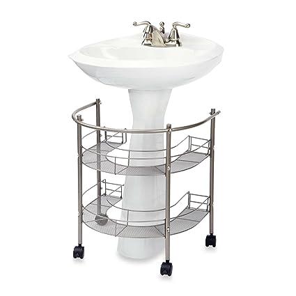 Rolling Organizador para lavabo de pedestal, almacenamiento de dos niveles de envolvente W/Ruedas
