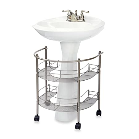 A Rolling Organizer For Pedestal Sink Two Tiers Wrap Around