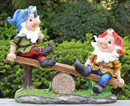 Superbe Wonderland Gnome/Dwarf On Seesaw (Garden Gnomes, Garden Décor)