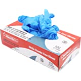 Healthstar Anti-microbial Nitrile Glove, Medium, Disposable, Powder Free, Industrial Quality, Comfortable (Box of 100)