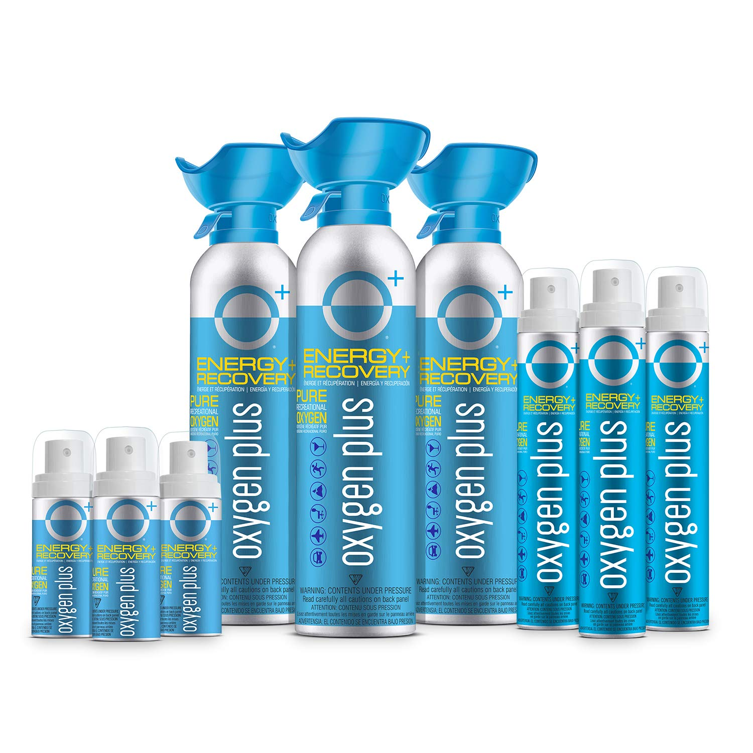 Oxygen Plus Oxygen Cans Trifecta Pack: 3 O+ Biggi, 3 O+ Skinni & 3 O+ Mini - Boost Oxygen Levels with Portable & Concentrated Recreational Oxygen for Altitude Performance & Energy