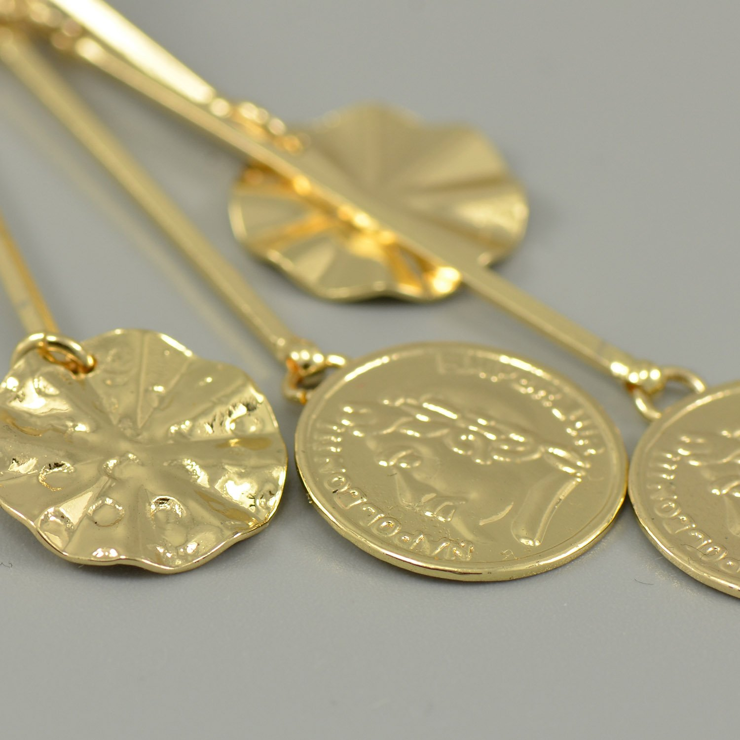 Yellow Gold Plated Long Dangle Round Coin Leverback Earrings