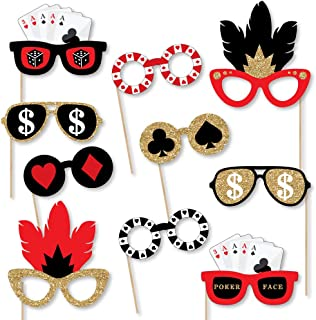 product image for Big Dot of Happiness Las Vegas Glasses - Paper Card Stock Casino Party Photo Booth Props Kit - 10 Count