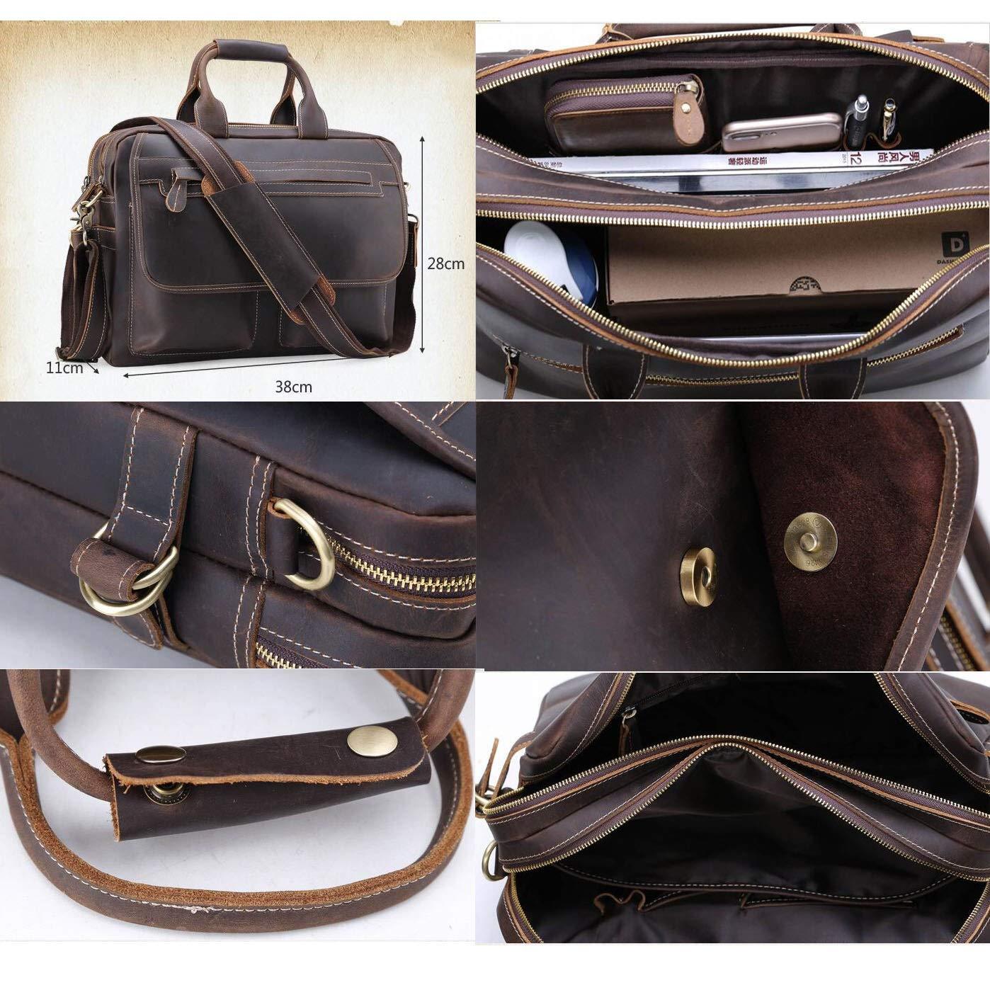 Mens Crazy Horse Leather Handbag Diagonal Bag Double Zipper Large Capacity Business Bag Mens Vintage Briefcase Casual Leather Bag 15 Inch Computer Bag Travel Leisure for Work Dark Brown