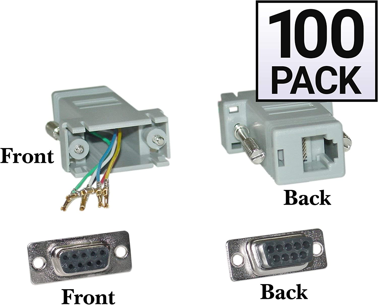 Gray 100 Pack Modular Adapter GOWOS DB9 Female to RJ12 Jack