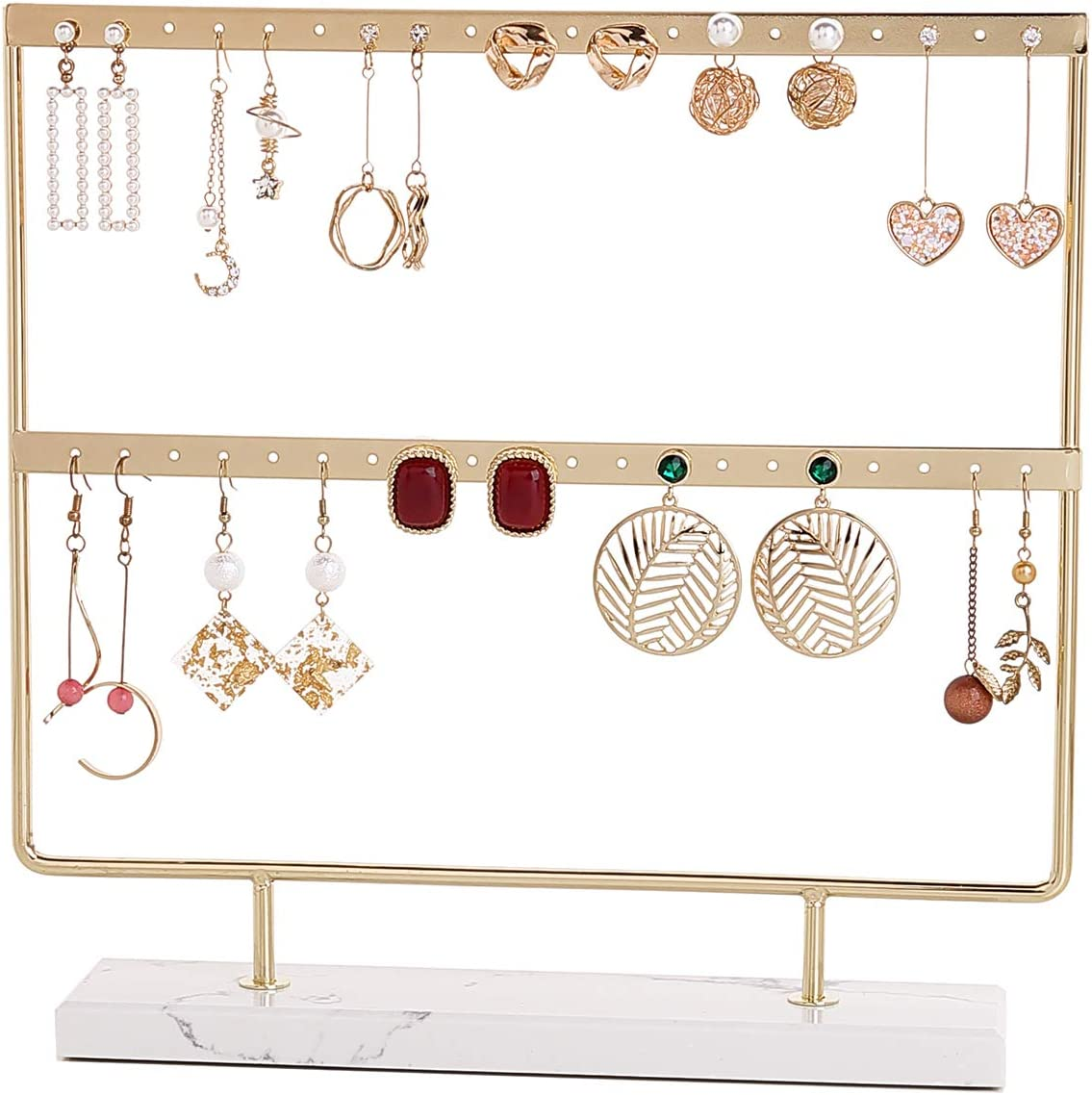 LuLaRine Earrings Holder Organizer Jewelry Display for Women, Marble Stand (Gold)