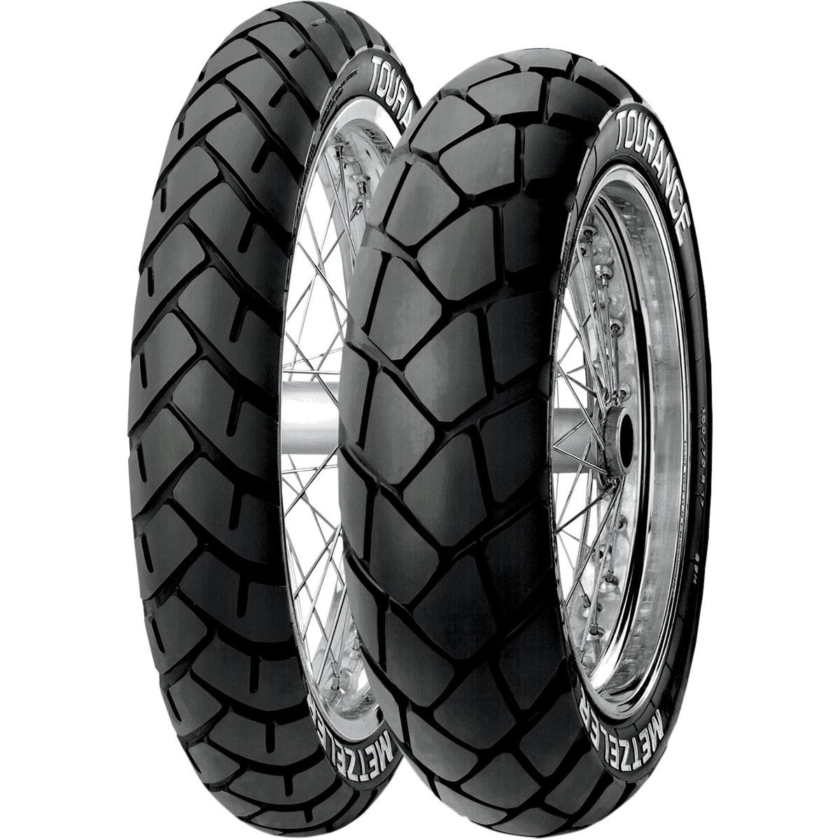 Metzeler Tourance Tire - Front - 90/90-21 , Position: Front, Load Rating: 54, Speed Rating: H, Tire Size: 90/90-21, Rim Size: 21, Tire Type: Dual Sport, Tire Application: All-Terrain 1012600