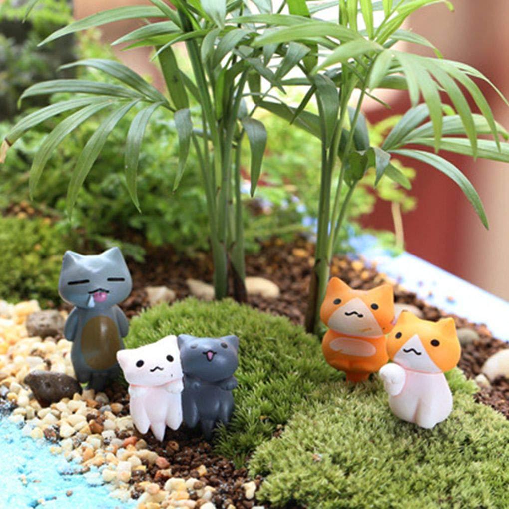 Set DIY Garden Cat Animal Fumetto Miniatura Statua Landscape Garden Glass Moss Decoration Piccola Statuetta Lorjoyx 6pcs