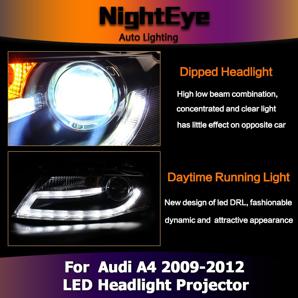 NIGHTEYE Audi A4 B8 LED Headlights 3400Lm High Low Beam Bi
