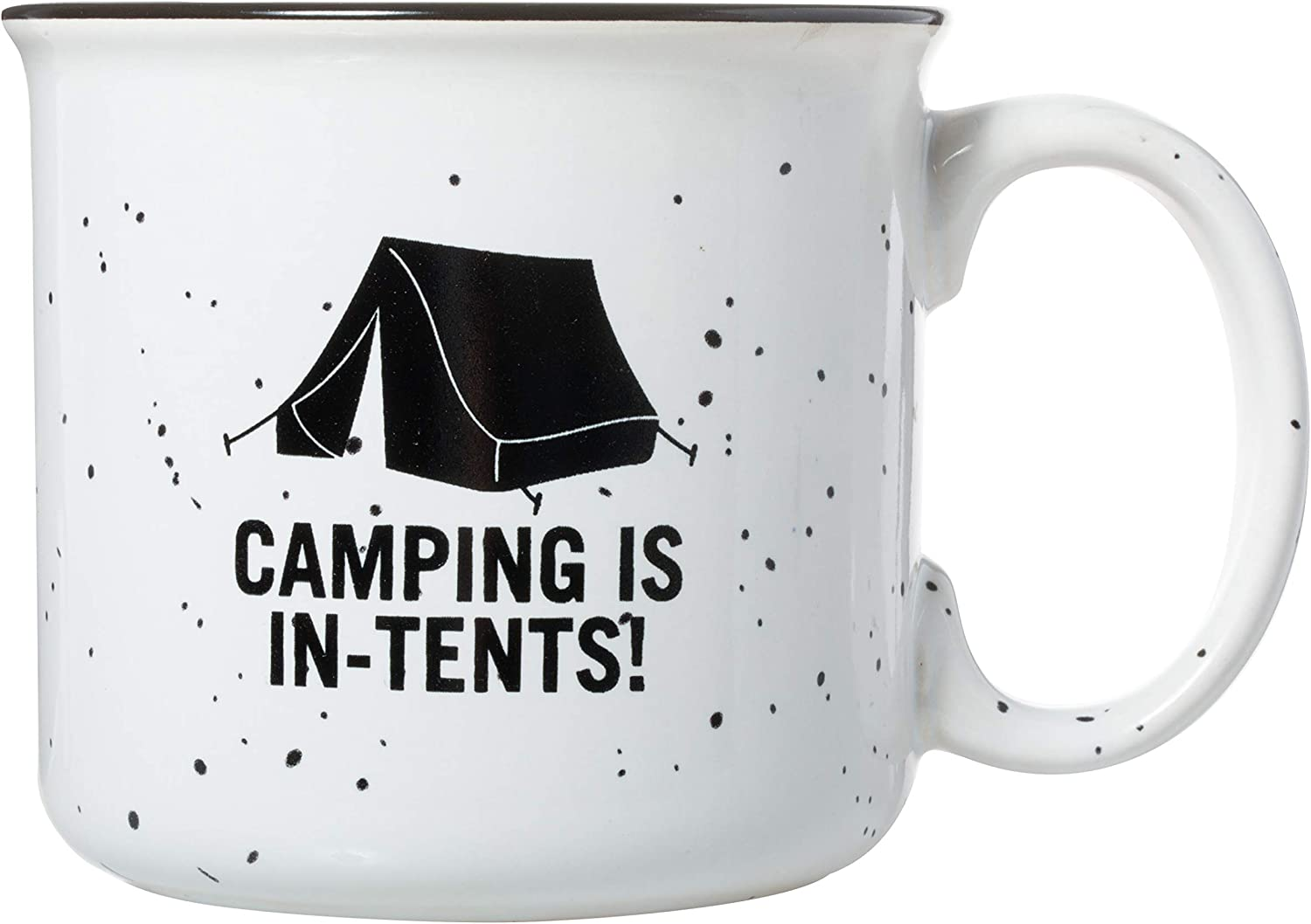 Camping Is In-Tents - Speckled Ceramic Campfire Mug - 15oz Deluxe Double-Sided Coffee Tea Mug