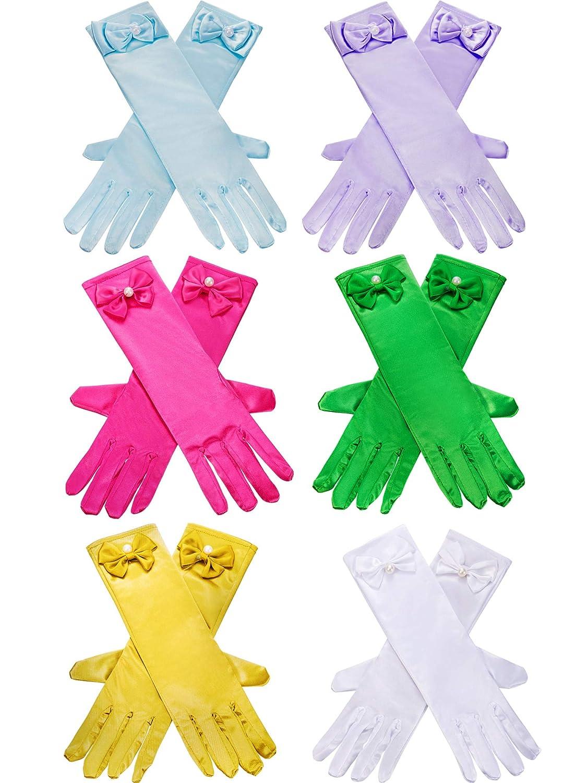 Zhanmai 6 Paires de Gants en Satin pour Filles Princesse Dress Up Gants Longs Gants Formels pour la Soir/ée Costum/ée Couleur 1 /Âg/és de 3 /à 8 Ans