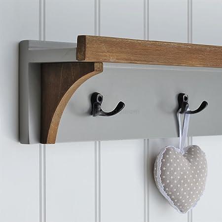 Grey Southwold Coat Rack With Shelf With 3 Coat Hooks