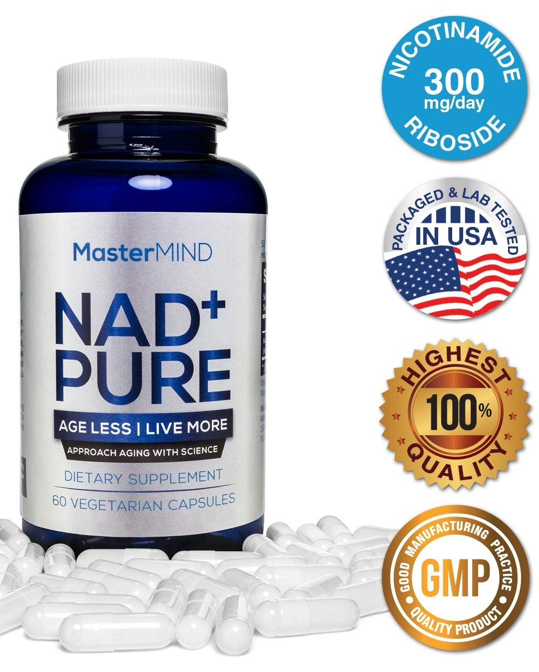 NAD+ Pure I Nicotinamide Riboside I Advanced NAD+ Booster I 300mg Serving   Promotes Anti Aging, Increases Energy, Boost Metabolism, Helps Muscle Recovery & Reduces Stress   Vitamin B3   60 Capsules