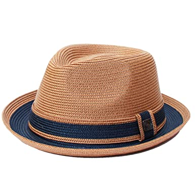 419e6f3817ee7 Dasmarca Raynor Two-Tone Retro Foldable Packable Summer Braided Straw Trilby  Hat  Amazon.co.uk  Clothing
