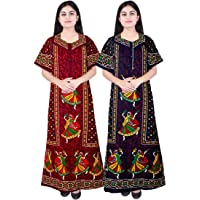 Silver Organisation Women's Cotton Nightdress Nighty (Multicolour, Free Size) -Combo Pack of 2