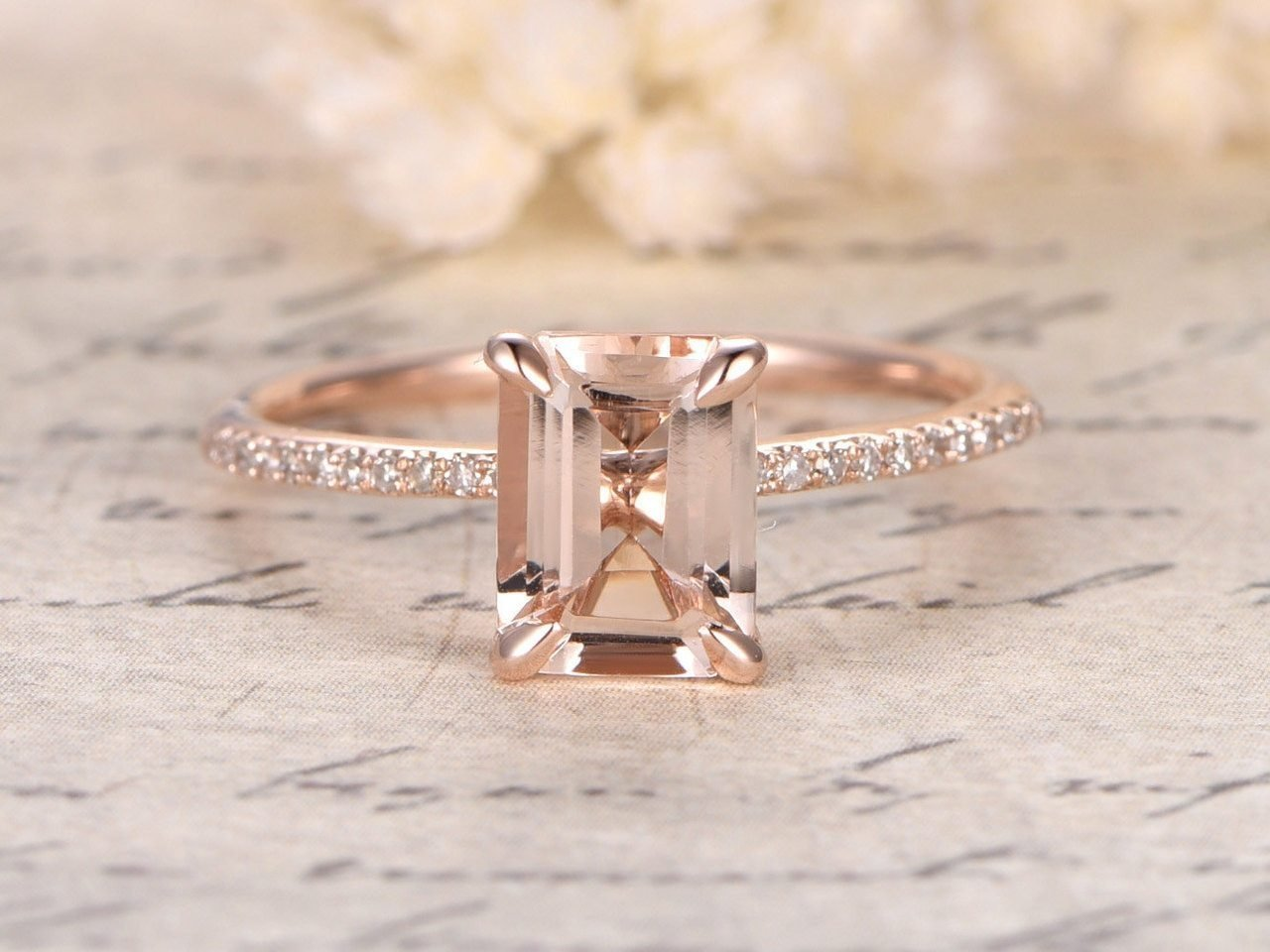 1.25 Carat Antique Design emerald cut Morganite and Diamond Engagement Ring for Women In Rose Gold