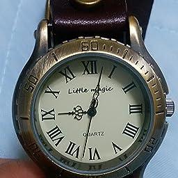Amazon Co Jp リトルマジック 腕時計 レディース メンズ 兼用 本革 ベルト 防水 アンティーク 風 金属アレルギー 対応 グリーン 腕時計
