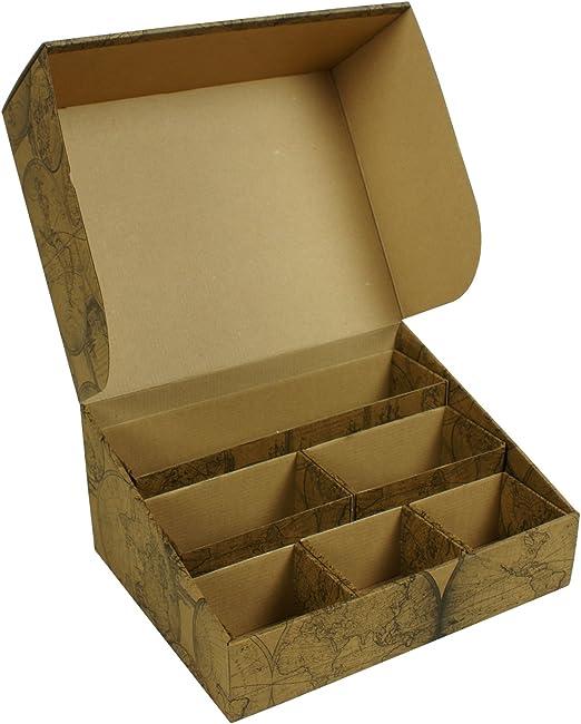 Global Pak Deco Caja de Almacenamiento, Organizador, Caja de cartón, Bix, Oficina Mapa Antiguo, Flores: Amazon.es: Hogar
