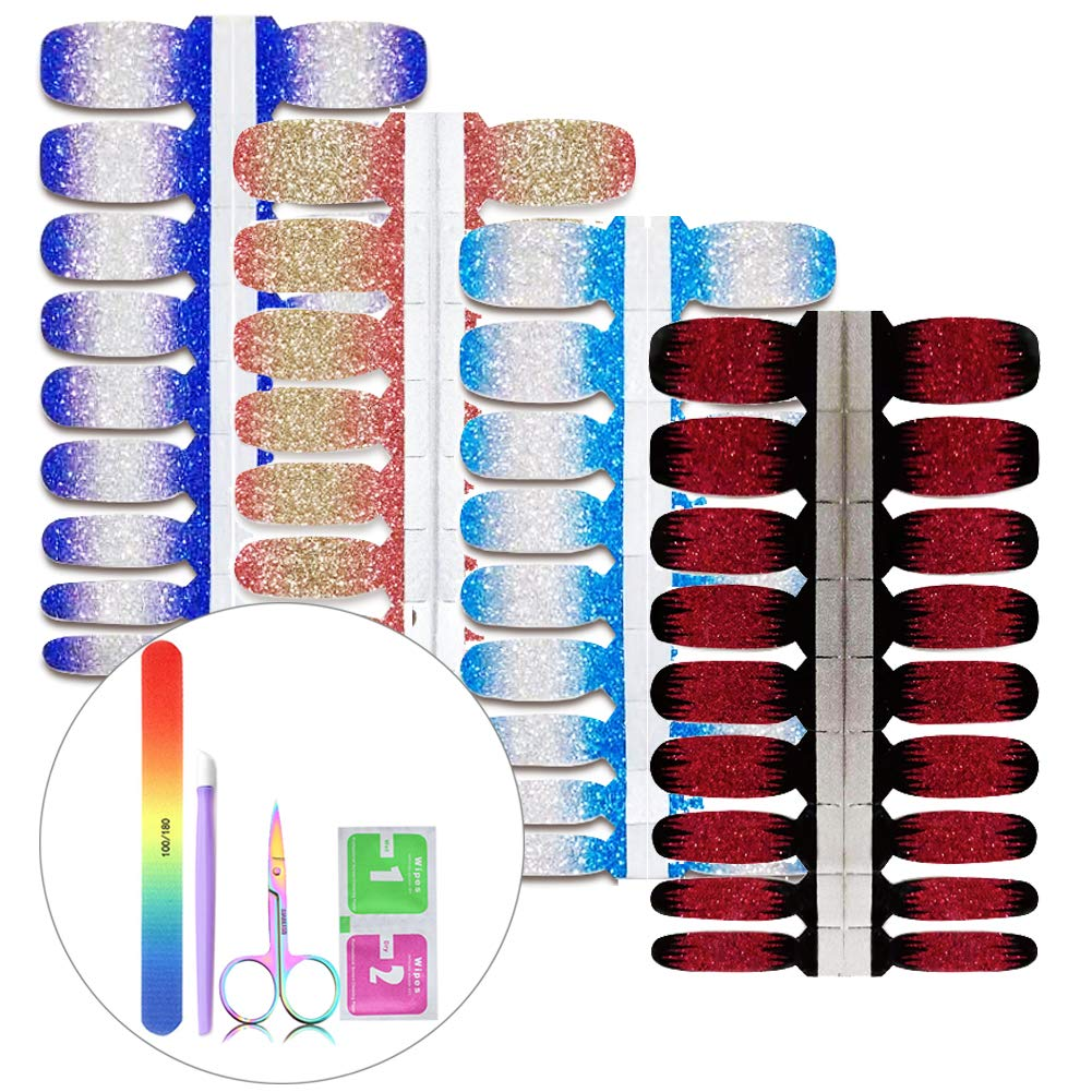 BornBeauty Glitter Nail Art Wraps Kit Red Black Blue Adhesive Stickers for Women Girls Fingers and Toes DIY Manicure Kits by BornBeauty