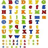 FlyCreat マグネットアルファベット 数字と英語アルファベット 知育玩具 幼児教育アプリシリーズ 積み木 強磁性 可愛いデザイン 全78ピース 算術記号も付き マグネットブロック 色意識上げる お子様に最高のおもちゃ 冷蔵庫用 ホワイトボード 耐久性高いプラスチックで作り 水洗いできる防水タイプ 壊しくない 幼稚園教具 保育所用品 誕生日のプレゼント クリスマスギフト
