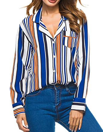 54ff0590eeb BLTR-Women Plus Size Striped V-Neck Long Sleeve Button Down Shirts at  Amazon Women s Clothing store