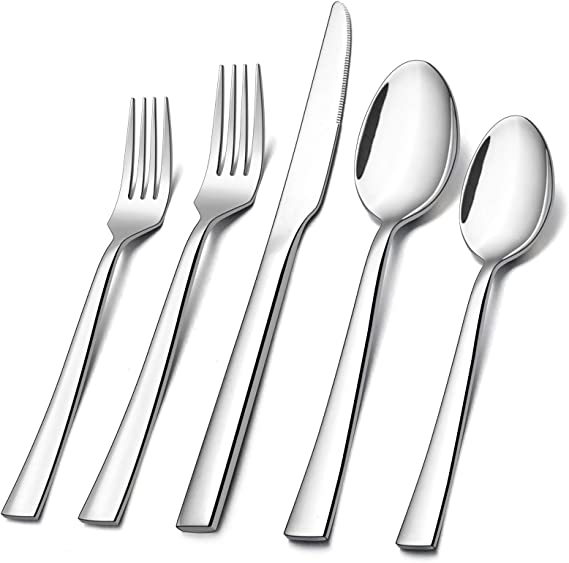 60 Piece Silverware Set E Far Stainless Steel Flatware Set Service For 12 Tableware Cutlery Set For Home Restaurant Party Dinner Forks Spoons Knives Square Edge Mirror Polished Dishwasher Safe Flatware Sets