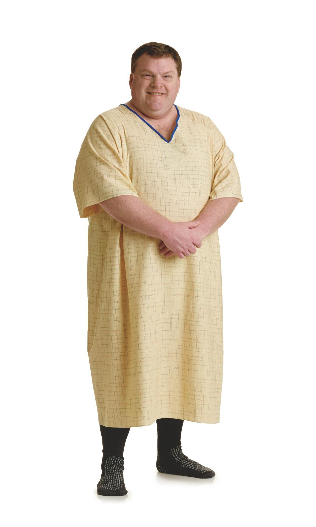 Medline MDTBG5RTSSPY Deluxe Cut Patient Gowns, Tieside, 10X-Large, Spectrum Yellow (Pack of 12)