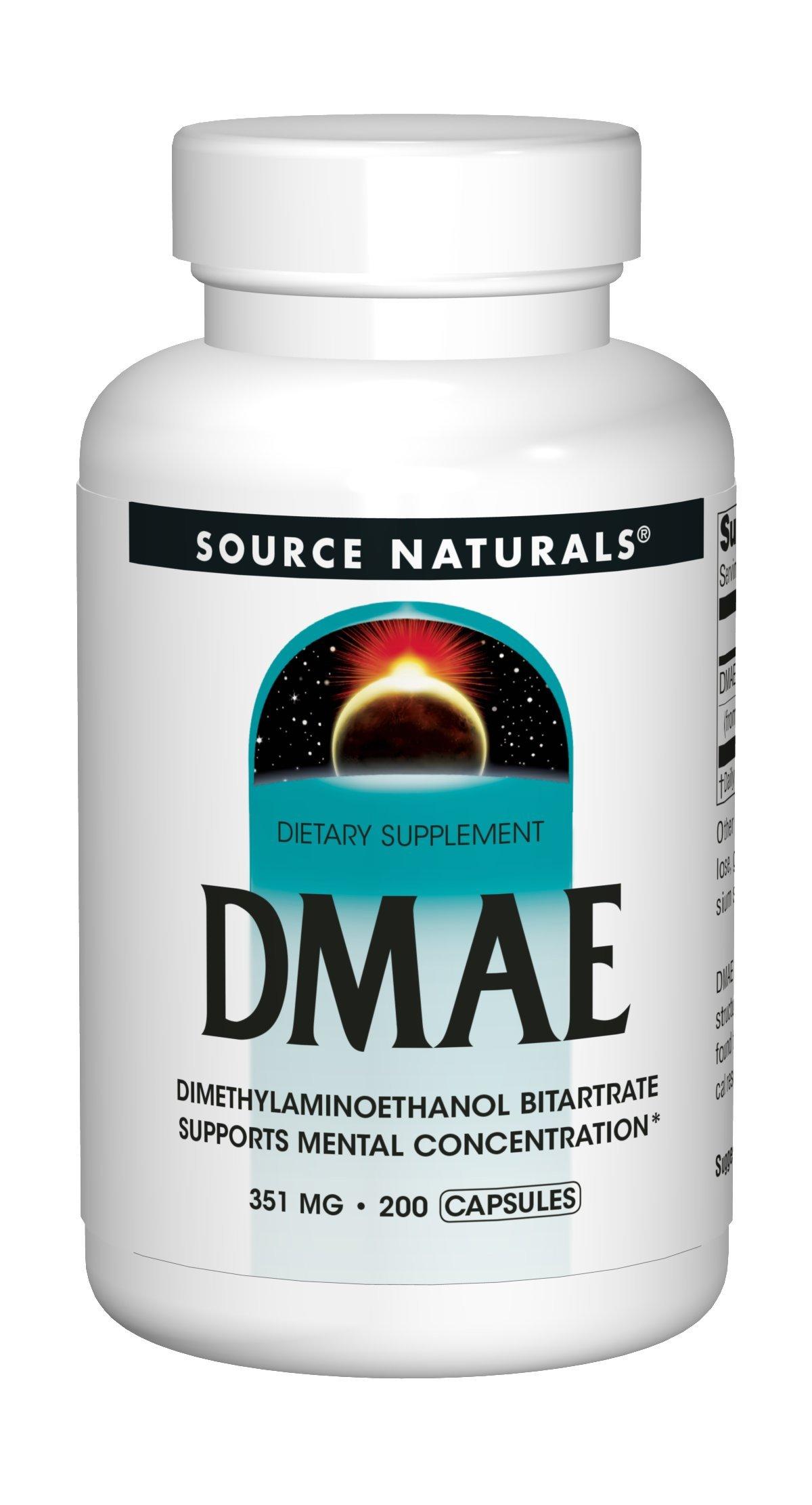 Source Naturals DMAE Dimethylaminoethanol Bitartrate 351mg Supplement - 200 Capsules