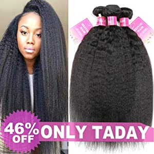 Mei You 8A Kinky Straight Hair 3 Bundles Yaki Human Hair Weave Unprocessed Brazilian Virgin Remy Sew in Hair Extensions Natural Black (18.20.22)