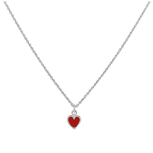 rivenditore di vendita b3c63 bd5b5 Collana piccola in argento con cuore rosso doppio: Amazon.it ...