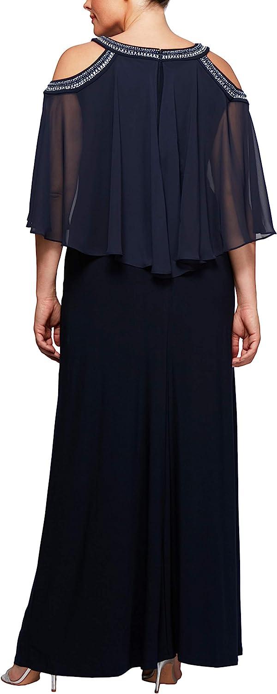 Alex Evenings Womens Plus-Size Cold Shoulder Popover Dress Special Occasion Dress