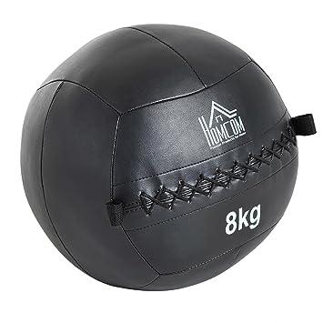HOMCOM Balón Medicinal de Crossfit 8Kg con Asas Tipo Pelota de Ejercicios de  Cuero y PU c62cc847c916a
