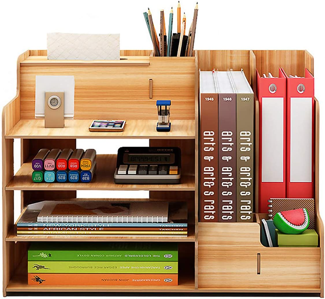 Wooden Office Desk Organizers and Accessories, Multi-Functional Stationary Office Supplies Desktop Organizer Set, Small Wood Desk Caddy Organization, Easy Assembly Office Supply Table Organizer